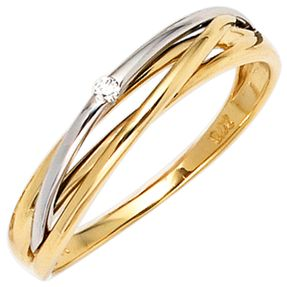 Ring Damenring mit Diamant Brillant 585 Gold Gelbgold Weißgold