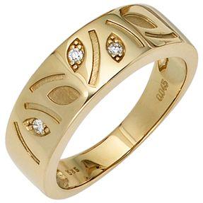 Ring Damenring mit 3 Diamanten Brillanten Muster Blätter 585 Gold Gelbgold