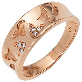 Ring Damenring 6 Diamanten Brillanten Muster Blätter 585 Gold Rotgold