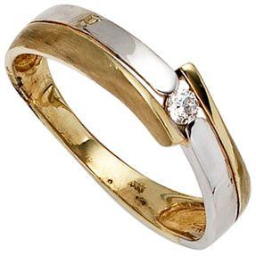 Ring Damenring mit Zirkonia 333 Gold Gelbgold Weißgold bicolor teilmatt
