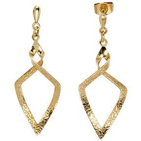 Ohrringe Ohrhänger Hängerstecker Spitzenform 375 Gold Gelbgold