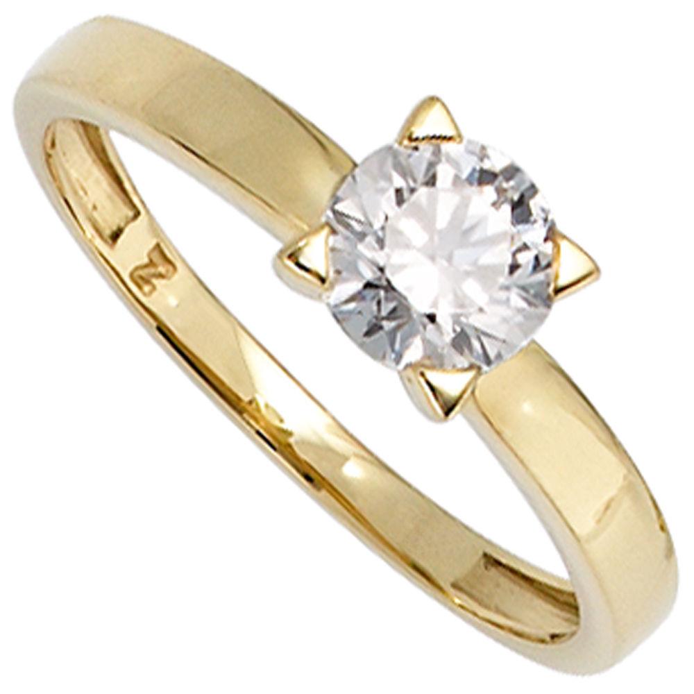 Details zu Solitär Ring Damenring mit Zirkonia 333 Gold Gelbgold Fingerschmuck Goldring