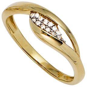 Ring Damenring mit Zirkonia 333 Gold Gelbgold Fingerring Goldring