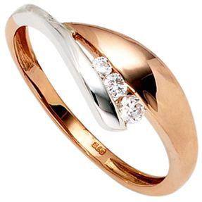 Ring Damenring mit 3 Zirkonia 375 Gold Rotgold Weißgold bicolor