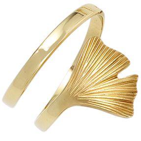 Ring Damenring Ginko Ginkoblatt aus 375 Gold Gelbgold teilmattiert