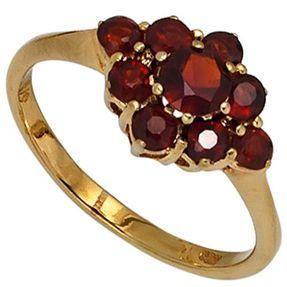 Ring Damenring Blume aus Granat rot dunkelrot 375 Gold Gelbgold Damen