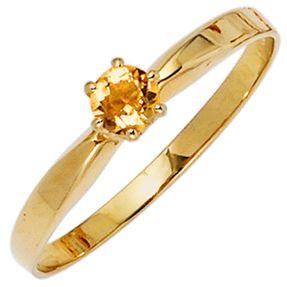 Ring Damenring mit Citrin gelb-orange & 585 Gold Gelbgold schlicht