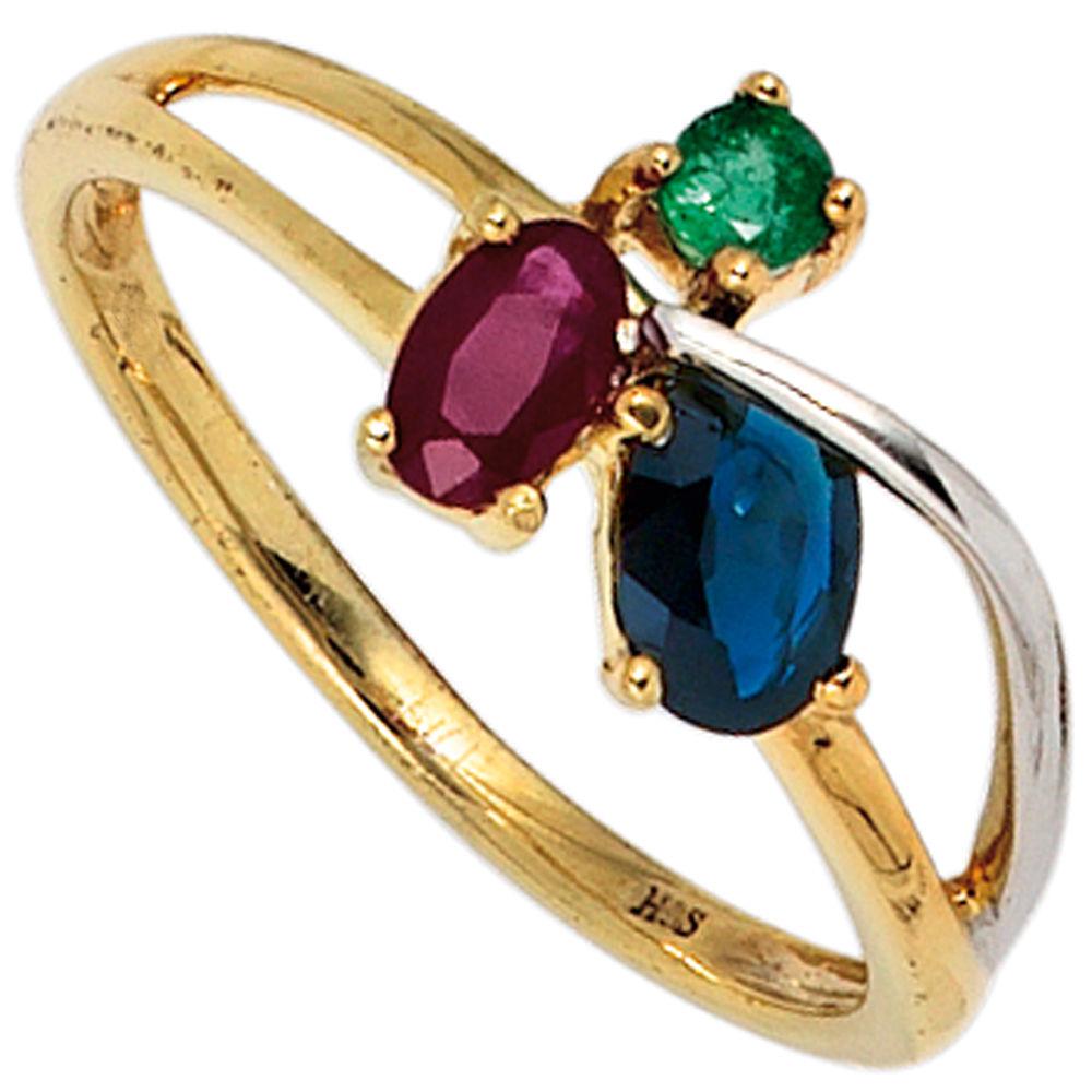 Prächtig Ring Damenring mit Rubin Safir Smaragd 585 Gold Gelbgold rot blau grün @OB_52