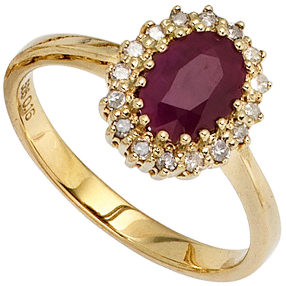 ring damenring mit rubin rot 16 diamanten brillanten 585