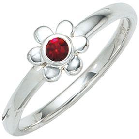 Ring Kinderring Blume 925 Silber Sterlingsilber rhodiniert mit Glasstein rot