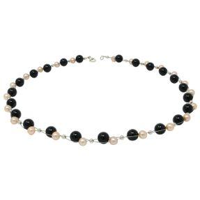 Kette Collier aus echten Perlen & Onyx, rose schwarz, für Damen Bild 1
