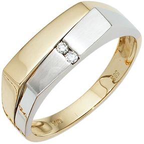 Herrenring Ring mit 2 Diamanten Brillanten 585 Gold Gelbgold Weißgold