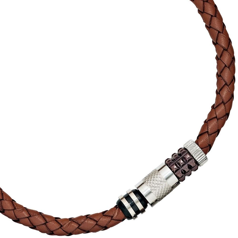 9 1mm collier halsschmuck leder braun edelstahl 45cm herren for Barhocker leder braun edelstahl