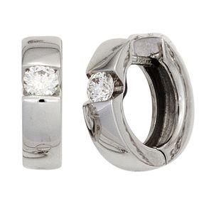 Ohrringe Creolen 13mm mit Diamanten Brillanten 585 Gold Weißgold Damen