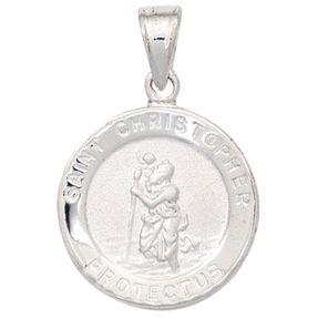 Amulett Anhänger Halsschmuck Christopherus aus 925 Silber matt Kinder