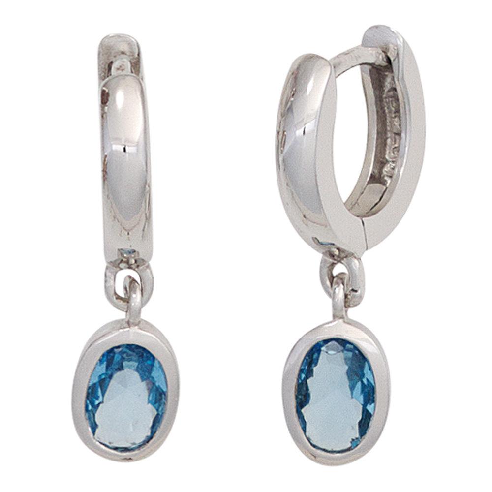 Paar Creole Creolen 2 x Zirkonia blau /& 925 Silber Ohrschmuck Damen