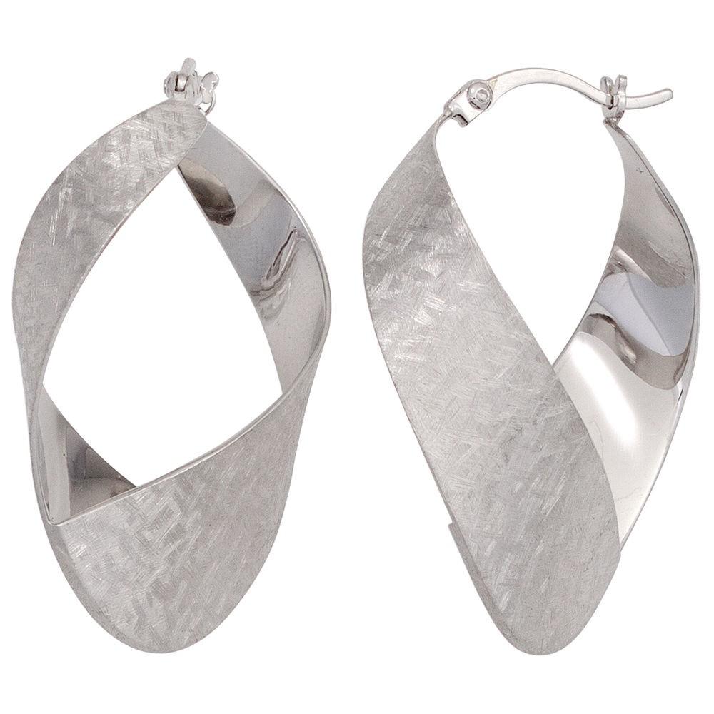 Kleine breite Creolen 925 echt Silber Sterling Ohrringe mattiert Damen neu