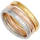 Ring Damenring Edelstahl 3-teilig gelb/weiß/rot tricolor PVD Beschichtung 001