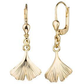 Boutons Ginko 375 Gold Gelbgold Ohrringe, Ohrhänger Goldohrringe Damen