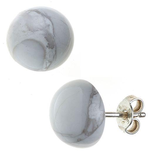 Ohrstecker-aus-Howlith-Halbkugel-10mm-925-Silber-weiß-grau