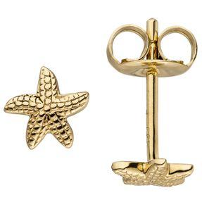 Paar Ohrstecker Stecker Goldohrringe, Seestern, 585 Gold Gelbgold, Damen