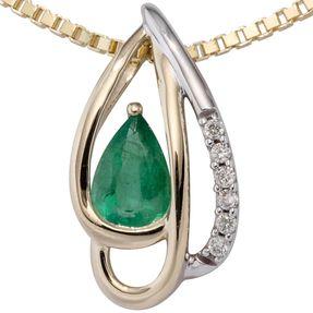 Anhänger mit 6 Diamanten Brillanten grüner Smaragd Tropfenform, 585 Gold