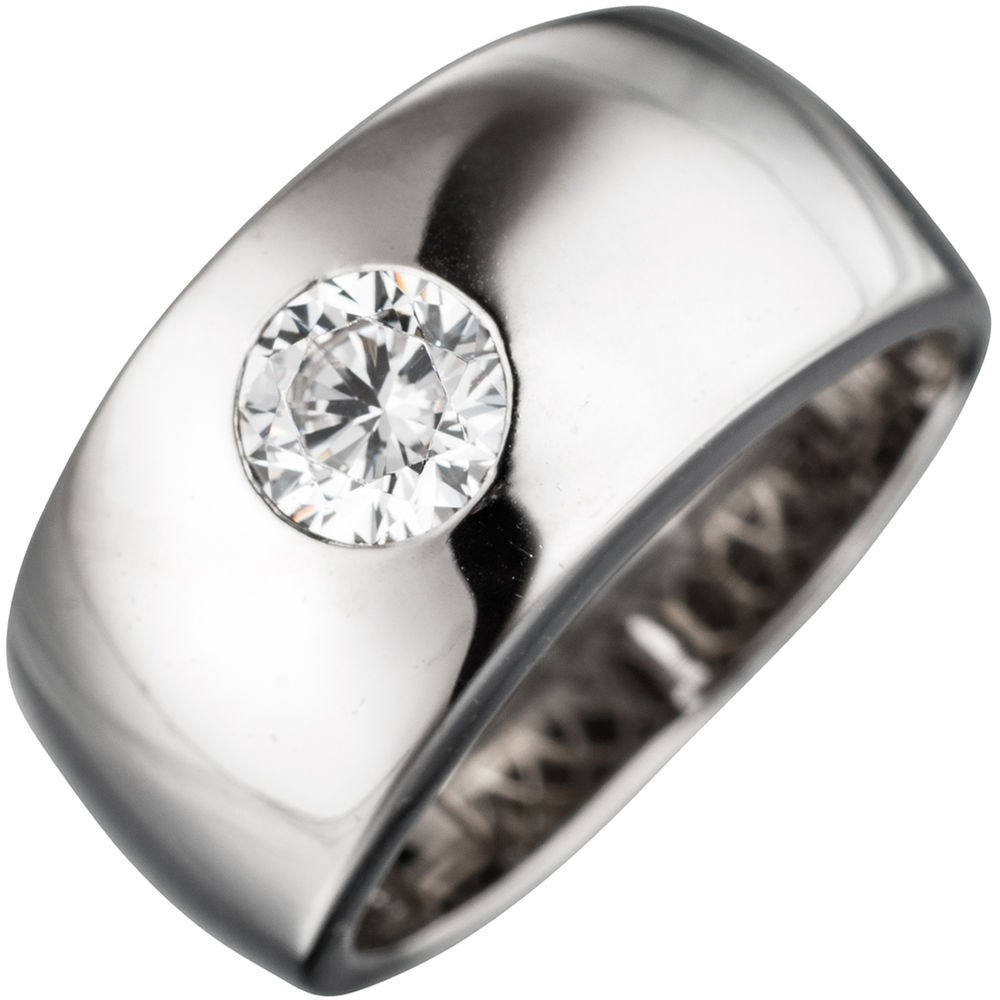Breiter Ring Damenring mit Zirkonia weiß, glänzend, 925 Silber Silberring | Schmuck Krone