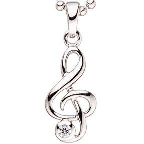 Anhänger Musik Notenschlüssel mit Zirkonia weiß, 925 Silber, Kinder