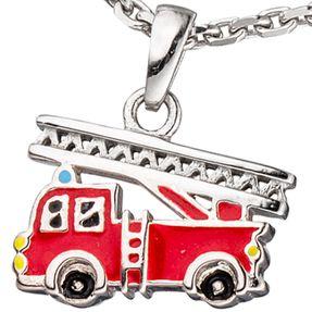 Anhänger Feuerwehrauto rot Feuerwehr Leiterwagen, 925 Silber, Kinder