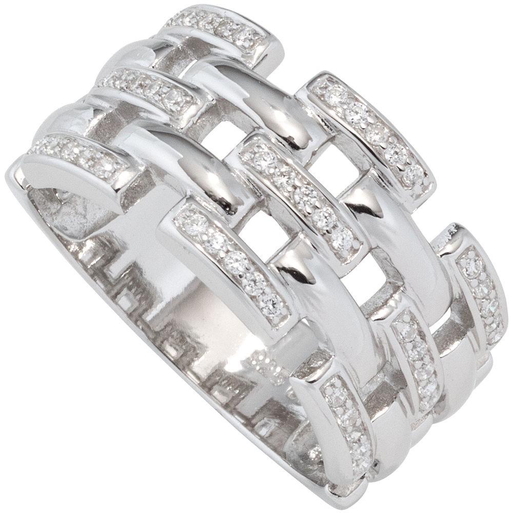 Breiter Ring Damenring mit Zirkonia weiß, 925 Silber rhodiniert, Silberring   Schmuck Krone