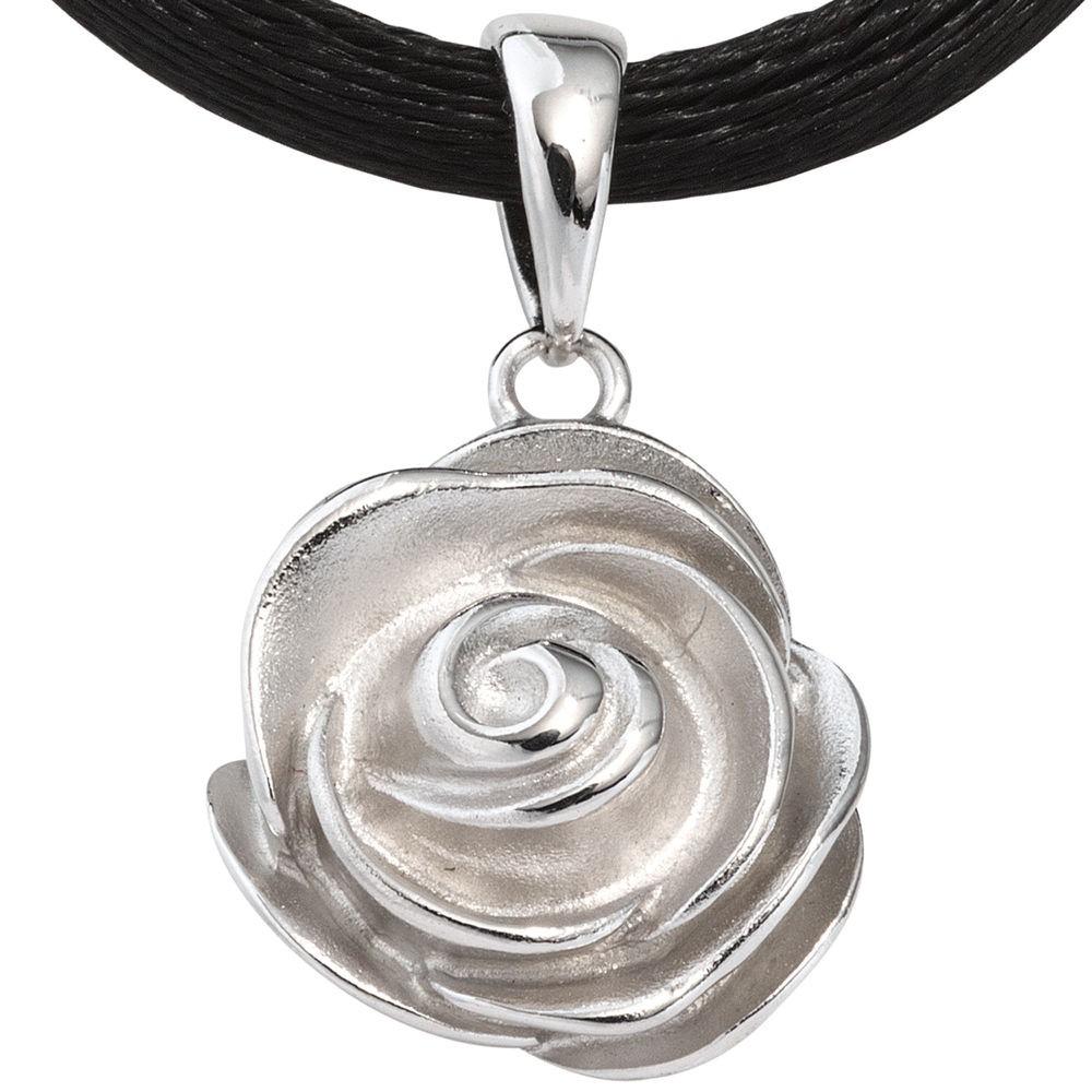 Kettenanhänger silber  Anhänger Rose aus 925 Silber rhodiniert teilmattiert ...