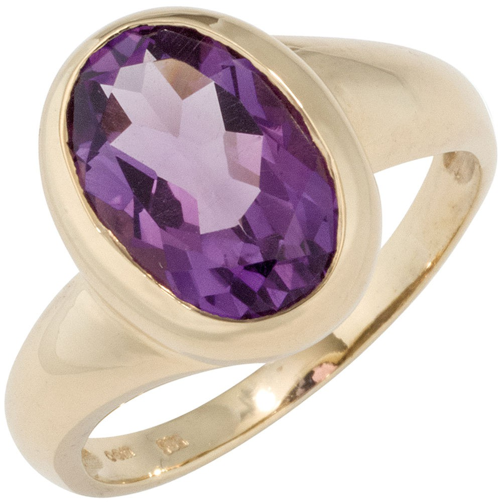Details about Ladies Ring Gold Ring Amethyst Violet Purple Oval Facetted,  585 Gold Yellow Gold