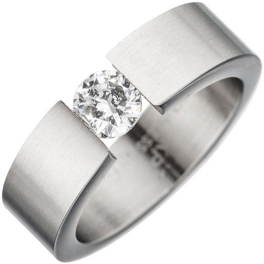Ring-mit-Kristall-weiß-aus-Edelstahl-mattiert