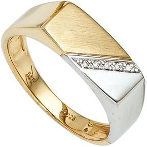 Herrenring Ring mit 5 Diamanten Brillanten 585 Gold Gelbgold Weißgold
