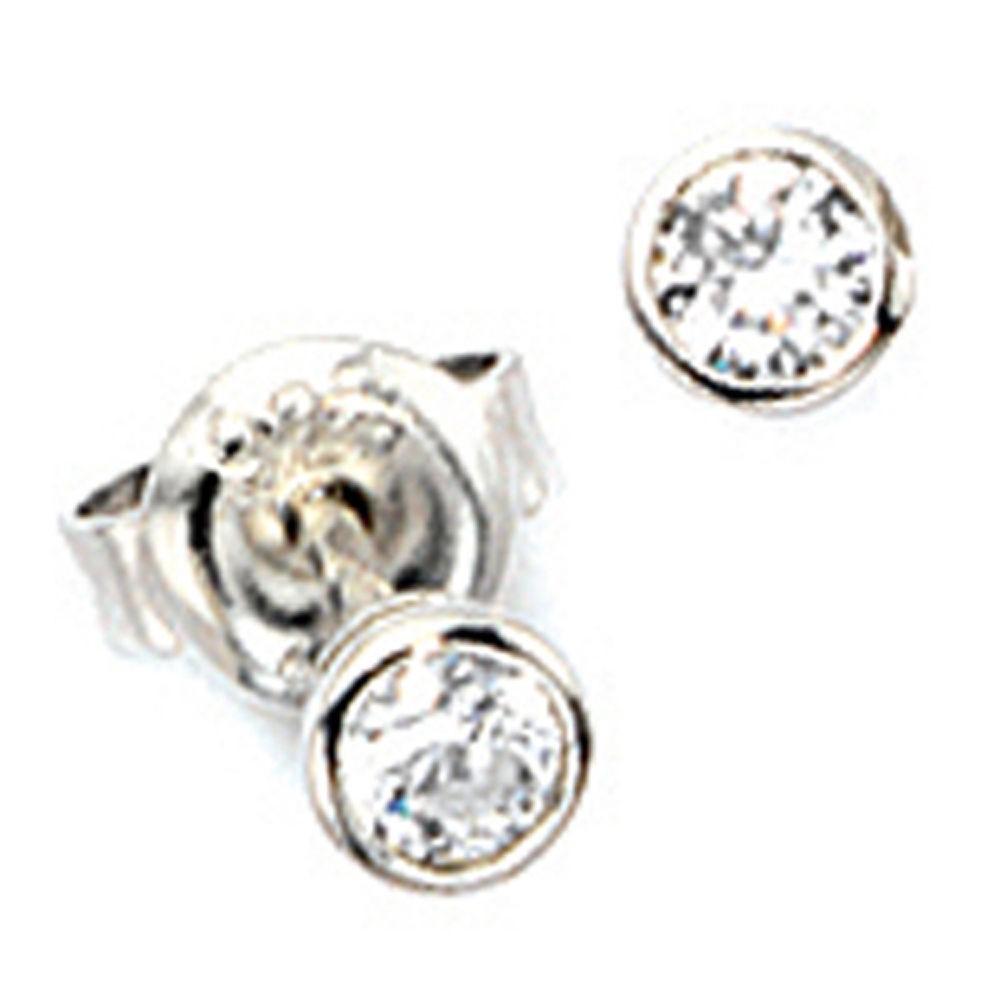 3,9mm Solitär Ohrstecker Ohrschmuck Ohrringe, weiße Zirkonia, rund, 925  Silber 001 5ec132e380