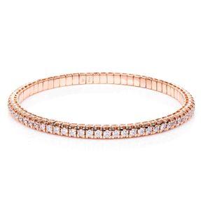 Armband aus 750 Gold Rotgold Flex-Band variabel mit 70 Brillanten 3,42 ct TW-si