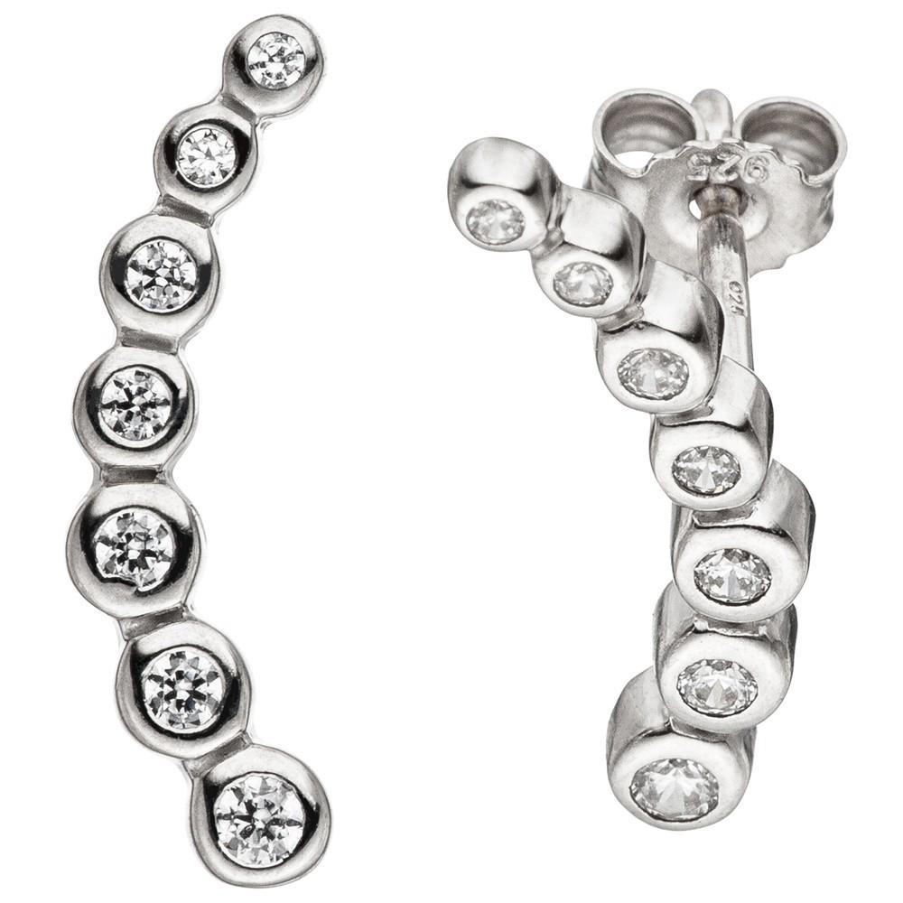 Ohrhänger Ohrringe mit jeweils 5 Zirkonia weiß 925 Silber Silberohrringe hängend