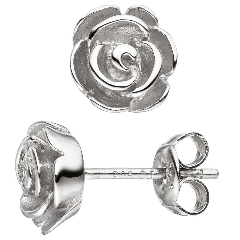 """Bernstein Ohrringe aus 925 Silber """"Rosen"""""""
