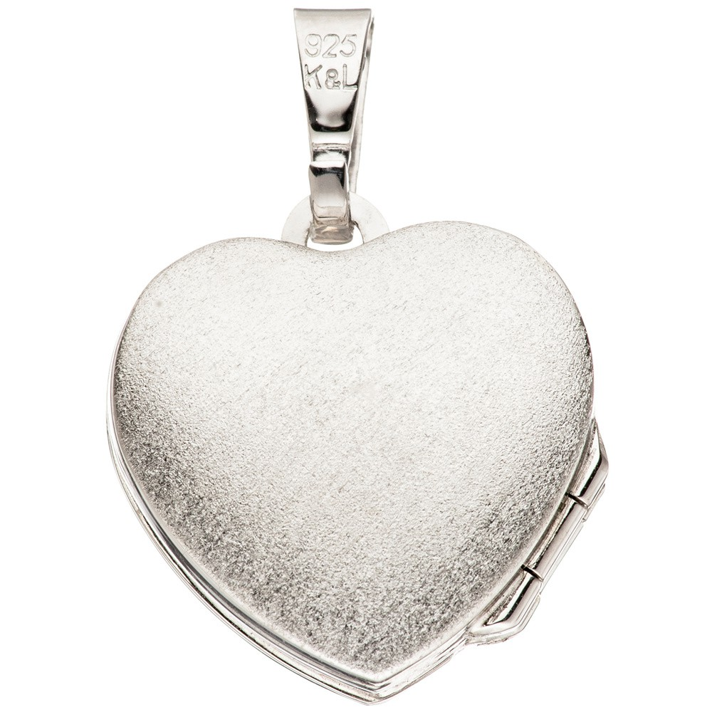 Medaillon silber  Medaillon Anhänger Herz zum Öffnen für 4 Fotos aus 925 Silber schlicht