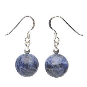 Ohrringe Ohrhänger aus echtem Sodalith & 925 Silber, violett-blau
