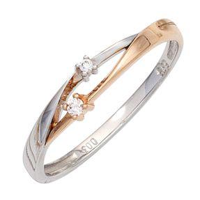 Ring Damenring mit 2 Diamanten Brillanten, 585 Gold Weißgold Rotgold bicolor