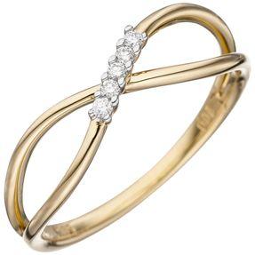 Ring Damenring, 5 Diamanten Brillanten, 585 Gold Gelbgold, Unendlichkeit Zeichen