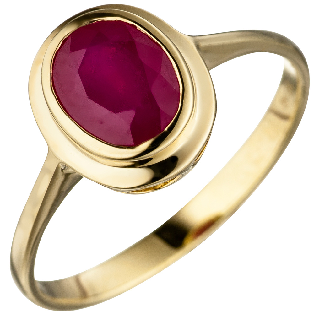 ladies ring with real ruby oval red 585 gold yellow gold