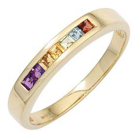 Ring Damenring 585 Gelbgold, Edelsteine Amethyst Citrin Granat Peridot Blautopas