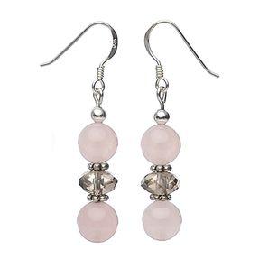 Ohrringe-aus-Rosenquarz-und-Rauchquarz-und-Silber