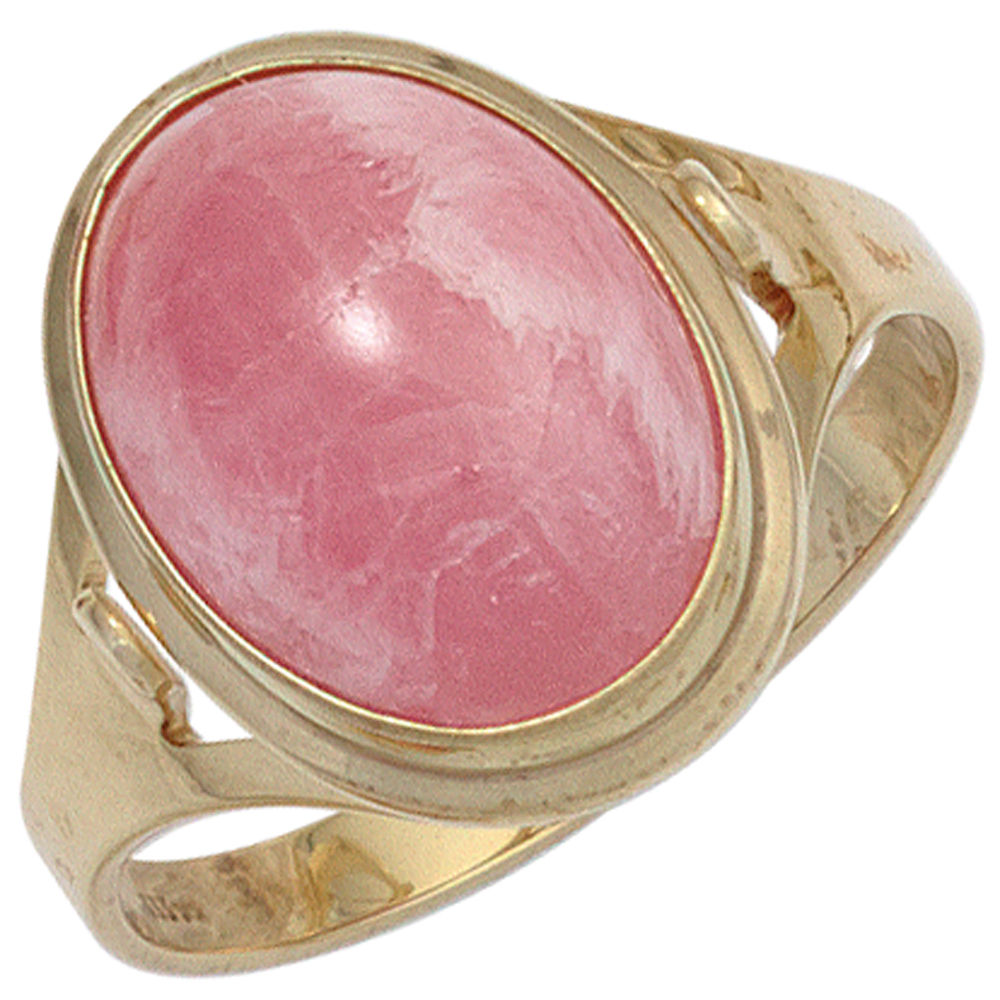 Ladies Ring with Real Rhodochrosite Pink Oval, 585 Gold Yellow Gold ...