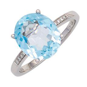 Ring Damenring mit Blautopas hellblau & 8 Diamanten Brillanten 585 Gold Weißgold