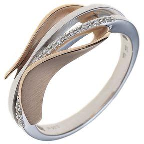 Ring Damenring mit 9 Diamanten Brillanten, 585 Gold Weißgold Rotgold mattiert