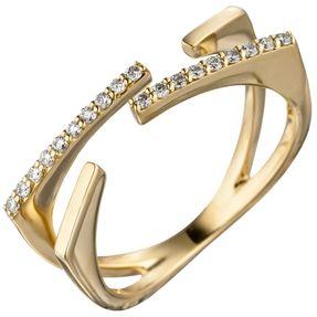 Ring Damenring offen mit 19 Diamanten Brillanten 585 Gold Gelbgold Diamantring