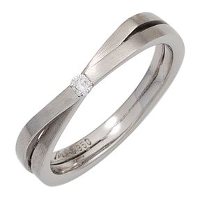 Ring Damenring aus 950 Platin mattiert mit Brillant 0,05ct Platinring Fingerring